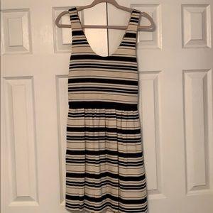 J Crew Black & Cream Stripped Dress